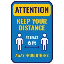 Attention Keep your Distance Sign