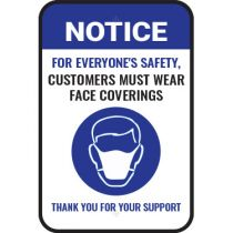 Notice For Everyone's Safety Please Wear A Face Covering Sign