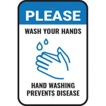 Please Wash Your Hands Blue on White Sign