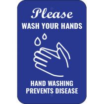 Please Wash Your Hands White on Blue Sign