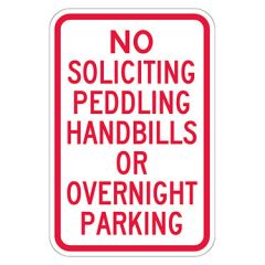 No Soliciting Peddling Handbills Or Overnight Parking