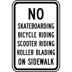 No Skateboarding Bicycle Riding Scooter Riding Roller Blading On Sidewalk