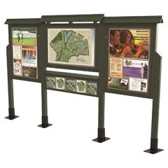 3-In-Line Message Boards With Literature Rack