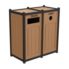 Two-Tone Panel Recycling Containers - Two Units