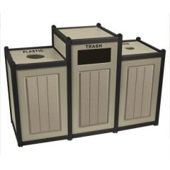 Two-Tone Panel Recycling Containers - Triple Units